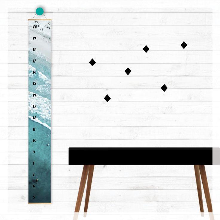 aqua ocean height growth chart,   scandi, modern, photography, scandinavian, beach, boho, canvas, wall decor, home decor, interior styling, home styling, kids bedroom, kids room, boho home, surfer, ocean