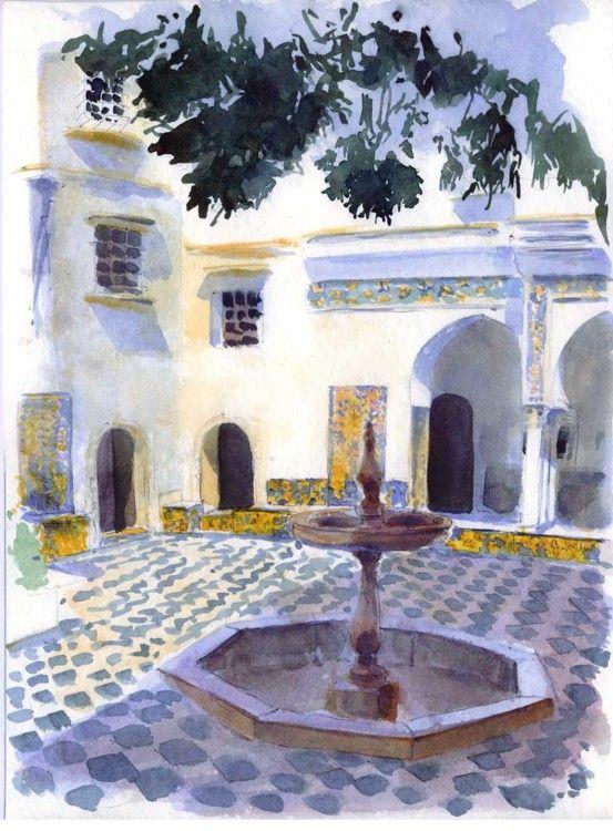 Alger - Palais du Bardo, patio et fontaine - Peinture ©2005 par Catherine Rossi -
