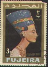 Queen Nefertiti on a stamp.