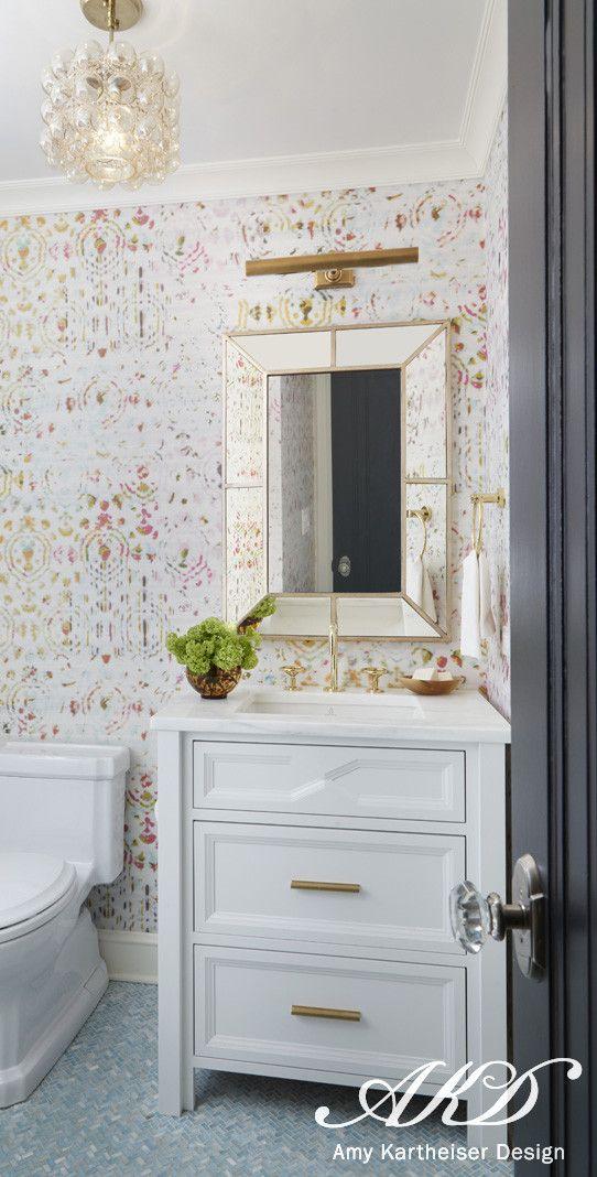 Wilmette « Amy Kartheiser contemporary bath design (note:  picture gallery lightning echos the design of vanity drawer pulls)