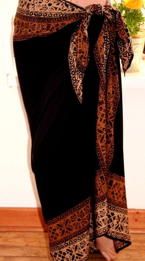 Solid Black Tahitian Inspired Beach Wrap Skirt Hand-Dyed Batik Pareo Women's Clothing Beach Sarong Skirt Coverup. $35.00, via Etsy.