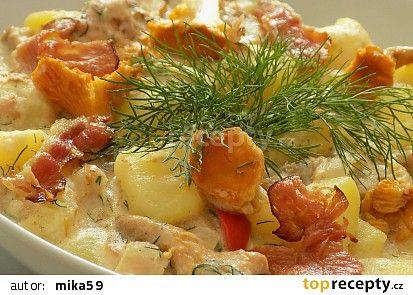 Brambory s liškami v omáčce s koprem recept - TopRecepty.cz