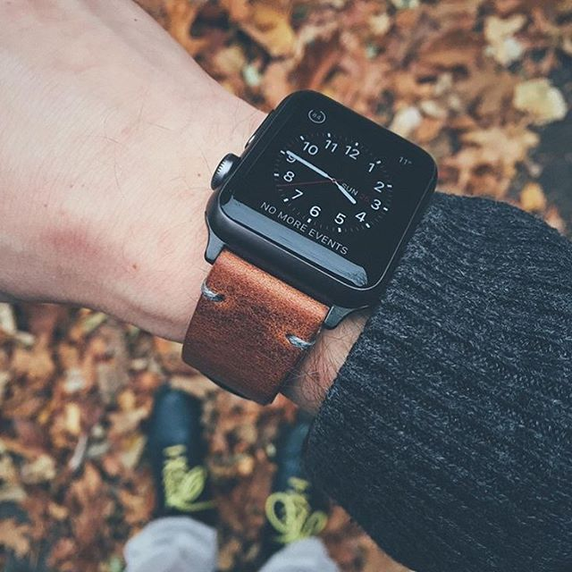 "Apple watch paired with our ""Brooklyn"" Bas and Lokes handmade leather watch strap. Available at www.basandlokes.com - designer mens watches on sale, compare mens watches, mens black stainless steel watches"