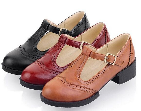 2015 NEW Vintage Carved Leather Student T-Strap Mary Jane Flats Womens Oxfords Round Toe Shallow Mouth Flat Oxfords For Women