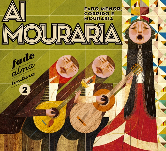 "Silva Designers. CD cover illustration for a selection of Fado music covering Fado Menor, Corrido and Mouraria. Part of the ""Fado, Alma Lusitana"" collection."