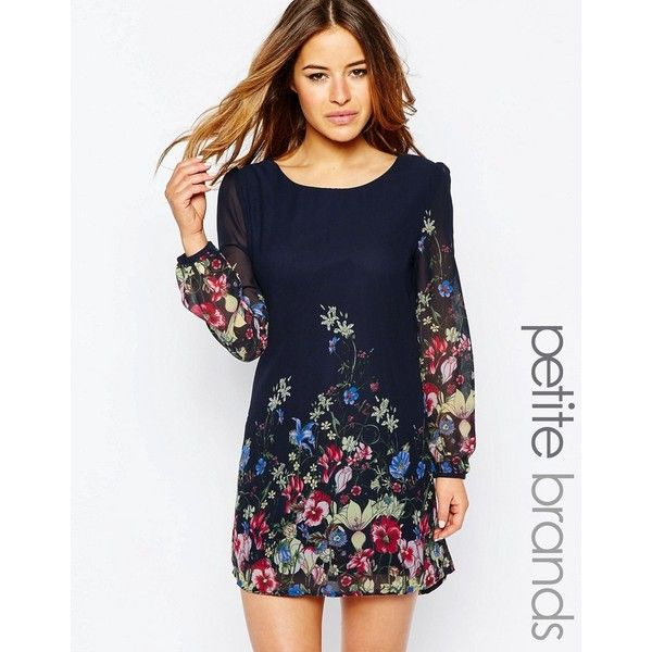 Yumi Petite Shift Dress In Floral Border Print ($52) ❤ liked on Polyvore featuring dresses, navy, petite, scoop neck dress, chiffon print dress, navy chiffon dress, navy blue dress and patterned shift dress