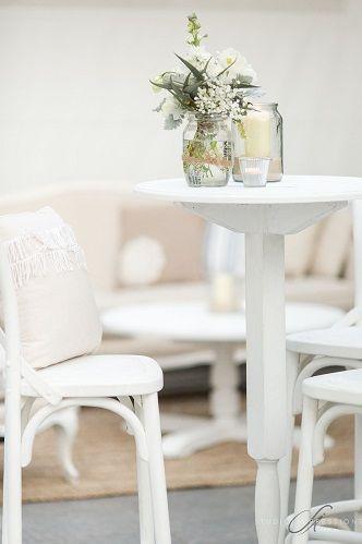 Coastal White High Bar and Stools  Cocktail Furniture | Lovebird Weddings