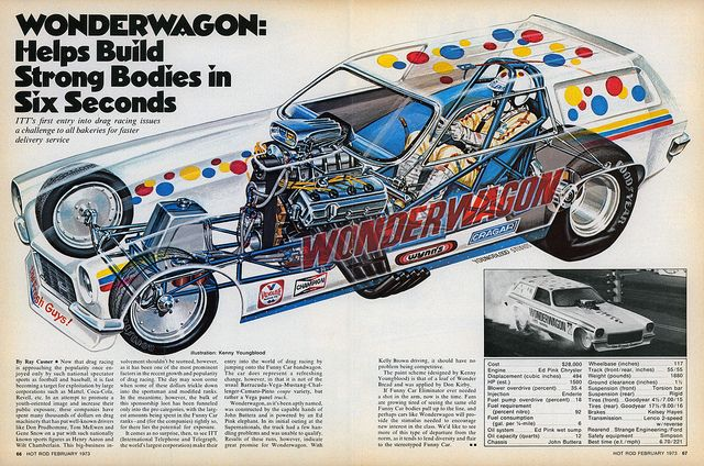WONDERWAGON Funny Car I have seen this car  go 1490 feet on a 1320 foot race track Ha!