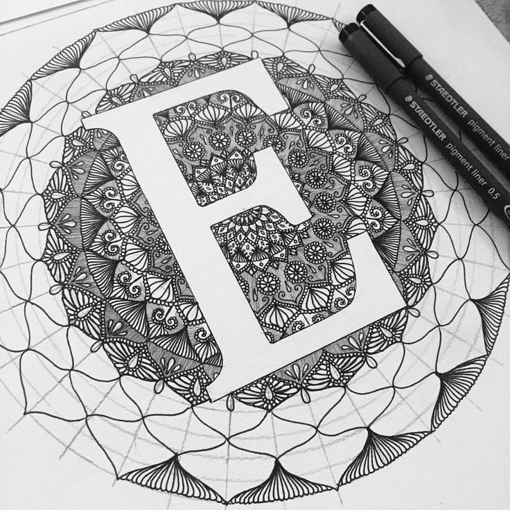 """E"" ✨ New pens! Thanks @tarikm1988 #staedtler #0.5 #0.05 #lettering #penart #mandala #zentangle"