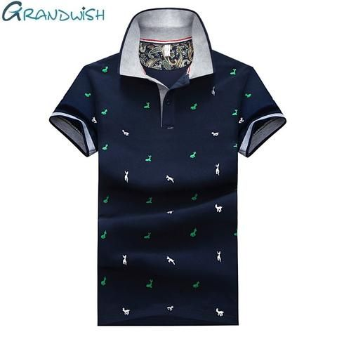 Grandwish 2018 New Polos Men Printed Polo Shirts Turn Down Collar