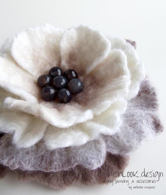 Hand Felted Flower Brooch Wool Felt Jewelry by ShishLOOKdesign, $23.00