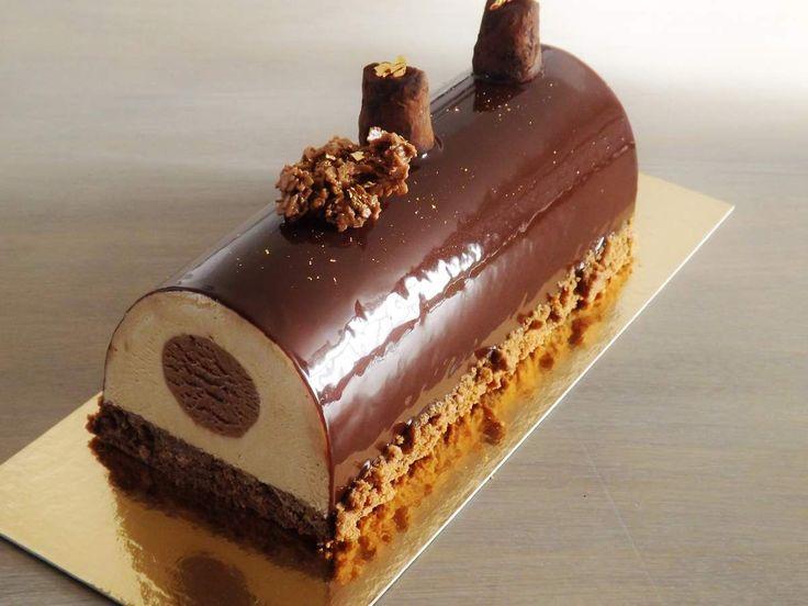 Génoise chocolat - Croquant spéculoos - mousse spéculoos - insert mousse nutella