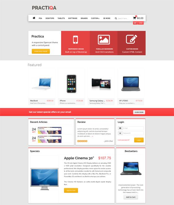This parallax OpenCart theme offers unlimited colors, a responsive layout, a mega menu, blog integration, a Bootstrap framework, cross-browser compatibility, a clean design, a slideshow, and more.
