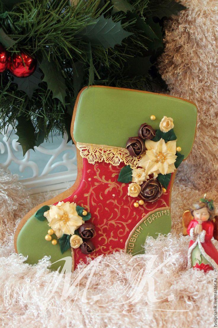 """Купить """"Рождественский башмачок"""" - комбинированный, пряник, пряник расписной, пряники ручной работы, пряники на заказ"""