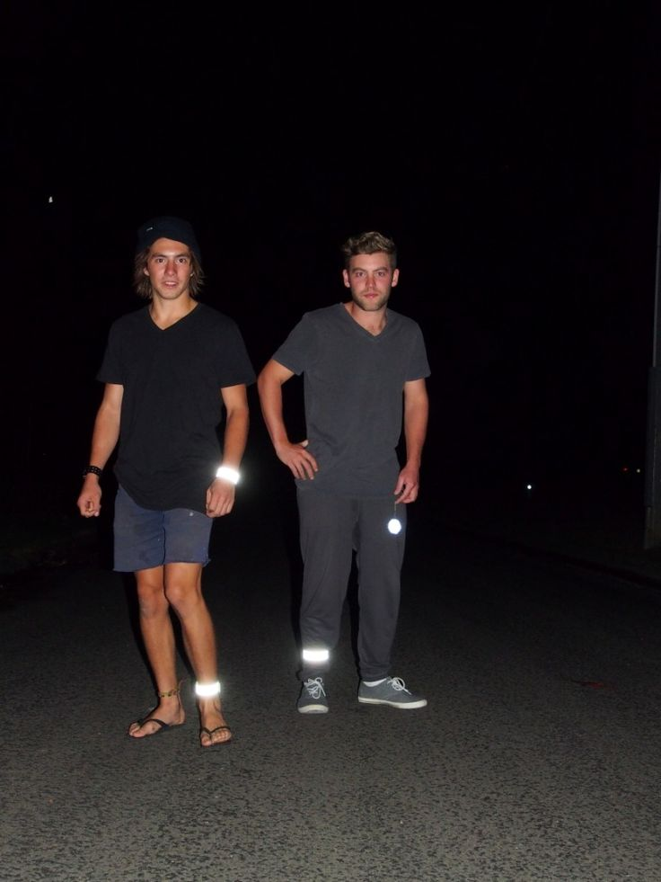 Brothers in plumbing Tyson and Christian keeping it safe even after hours. High visibility gear is second nature to all tradies.