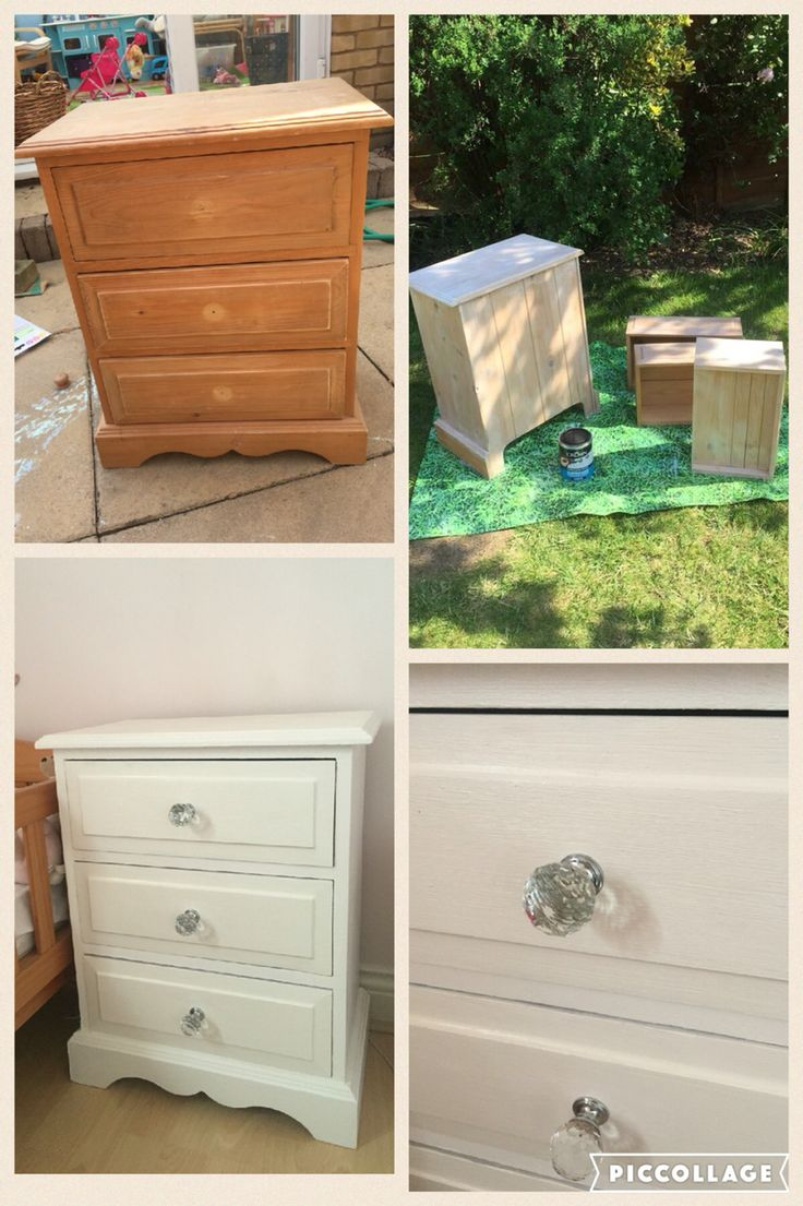 Up cycled for my girls room. Primer then Rustoleum Chalk White Paint. Ronseal varnish. Handles £14.99 for 6 from Homebase