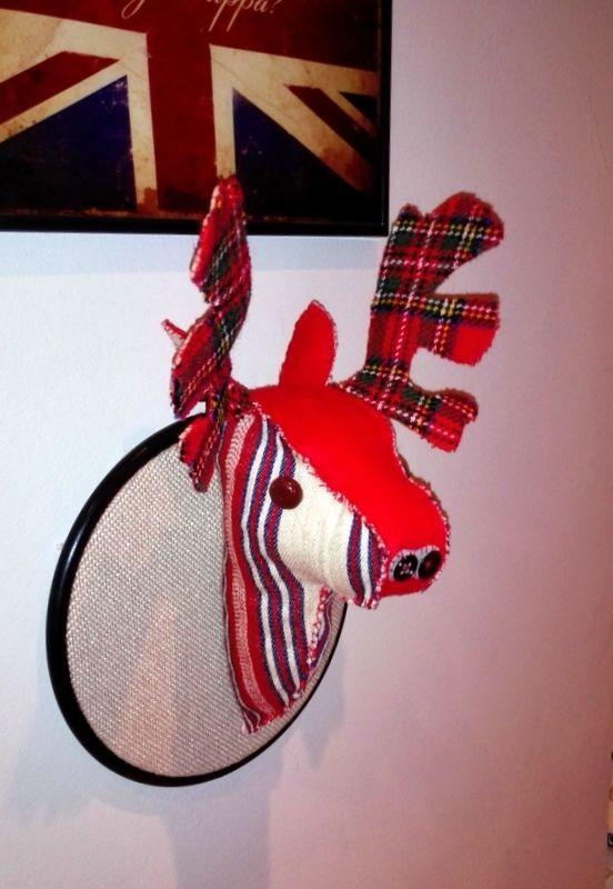 wool hand sewn reindeer head