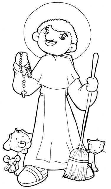 Saint Martin de Porres Catholic coloring page Feast Day November 3: