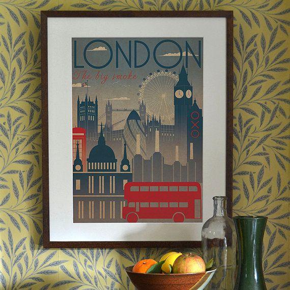 London City Art Deco Bauhaus Poster Print A3 A2 A1 Vintage Retro Original Design 1940's Vogue Cityscape Travel