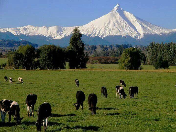 Volcán Puntiagudo, próximo al lago andino en el Parque Nacional Puyehue.