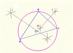 How to construct a circle through the 3 vertices of a triangle with compass and straightedge or ruler - Math Open Reference