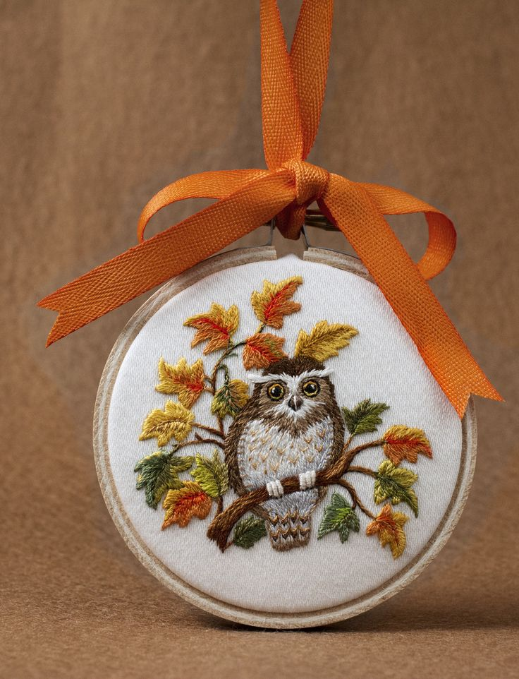 autumn-owl | by VariedThreads. Embroidered ornament for CyberStitchers EGA donation. Adapted from a pattern by Jenny McWhinney. 3-inches high.