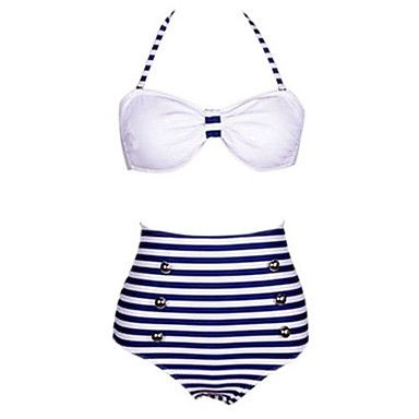 Les bandes de femmes impriment blanc / bleu marine bikini bleu, licol millésime de grande hauteur de 2016 ? €9.79