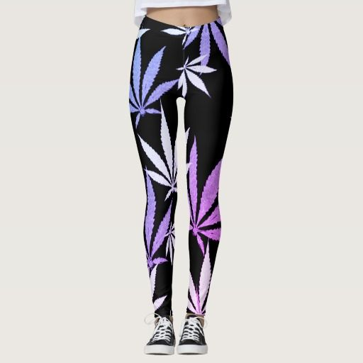 #Ganja weed smoke pot black and purple pattern #leggings