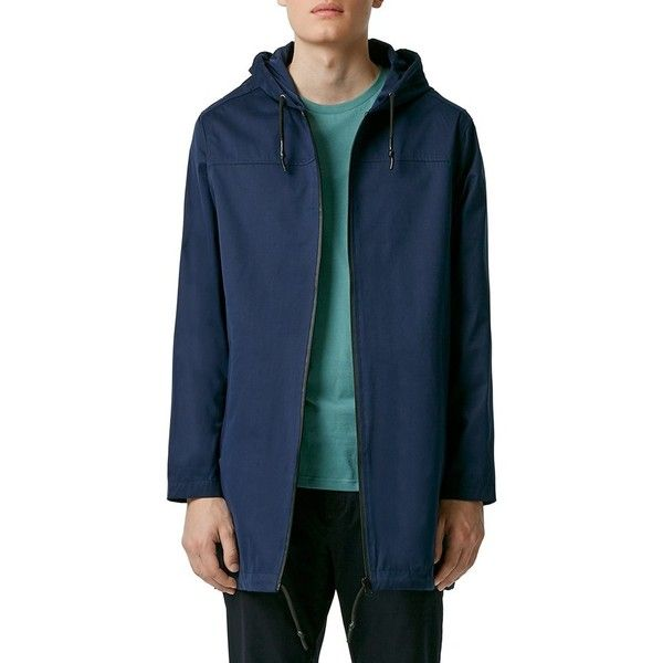 Topman Lightweight Hooded Parka (2.385 CZK) ❤ liked on Polyvore featuring men's fashion, men's clothing, men's outerwear, men's coats, navy blue, mens parka coats, mens lightweight trench coat, mens navy pea coat and mens hooded coats
