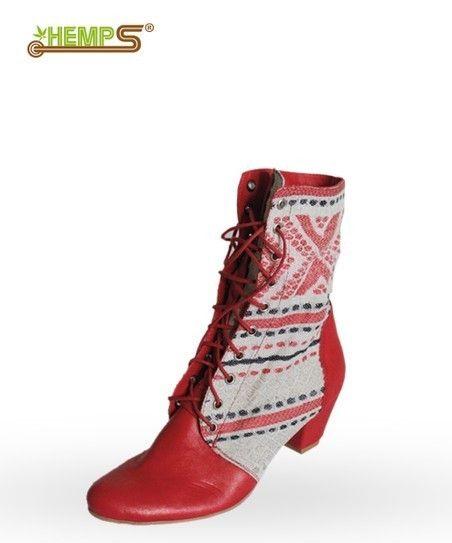 Female footwear handmade - Hemp Ukrainian tapestry boots