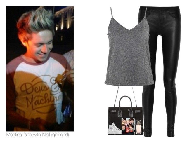 """""""Meeting fans with Niall (girlfriend"""" by sexyirishman ❤ liked on Polyvore featuring Helmut Lang, Topshop, Yves Saint Laurent, Converse and Cross"""