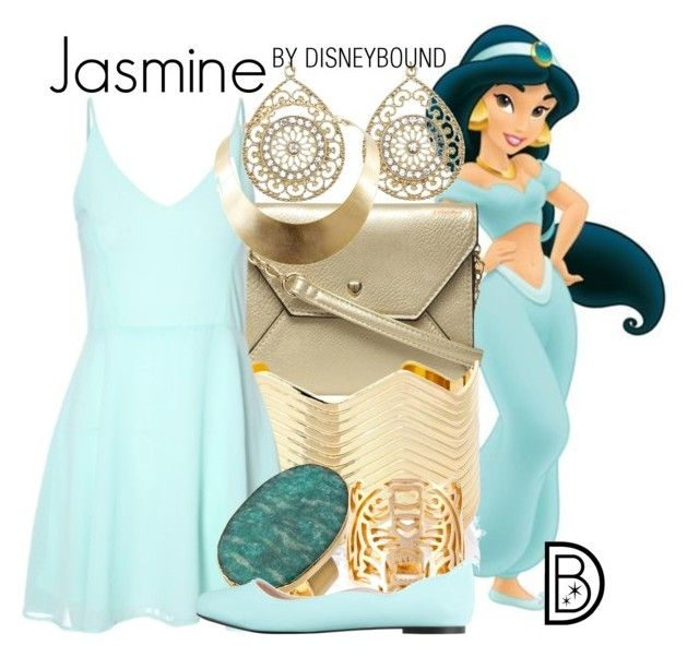 """Jasmine"" by leslieakay ❤ liked on Polyvore featuring Dorothy Perkins, Fevrie, Charlotte Russe, Janna Conner Designs, Kenzo, ZALORA, GUESS, disney, disneybound and disneycharacter"