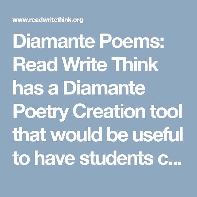 read write and think diamante poems