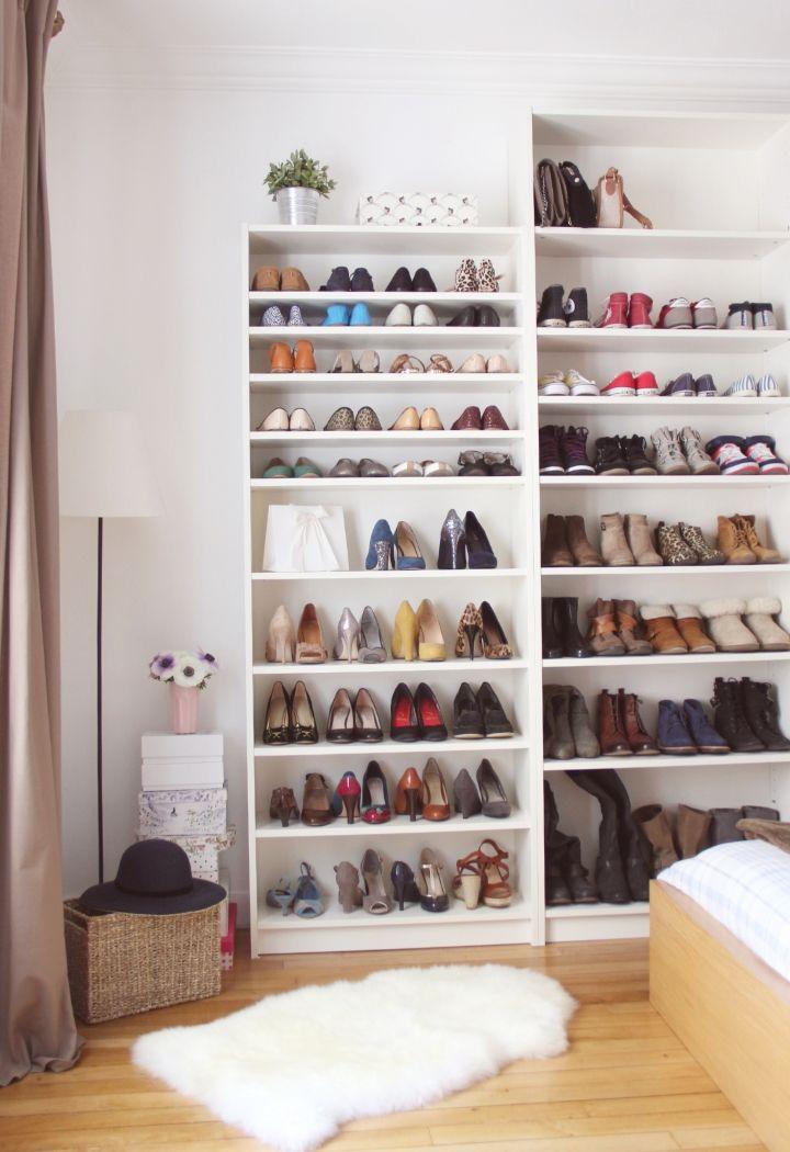 Shoesing en étagères Billy d'Ikea (profondeur adaptée aux chaussures)