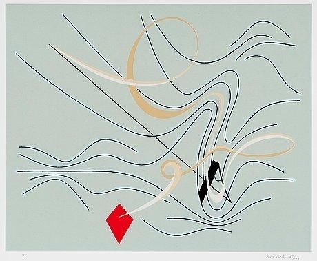 Juhana Blomstedt: Red Kite, 1965, serigraph, 43,5x55 cm - Mutual Art 2016