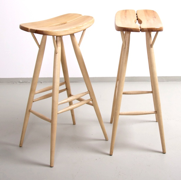 Rare blond Tapiovaara Pirkka bar stools by Ilmari Tapiovaara for Laukaan Puu Finland