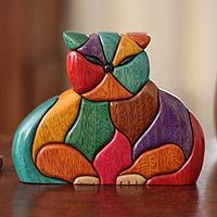 Ishpingo wood sculpture, 'Patchwork Cat' designed by John Barrow