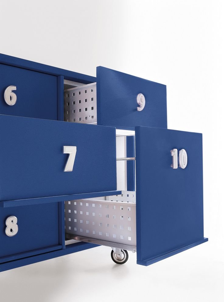 Composable unit with drawers and doors TOOLBOX by EmmeBi | design Pietro Arosio  #italia #madeinitaly #numbers #blue #design #beautiful #organize