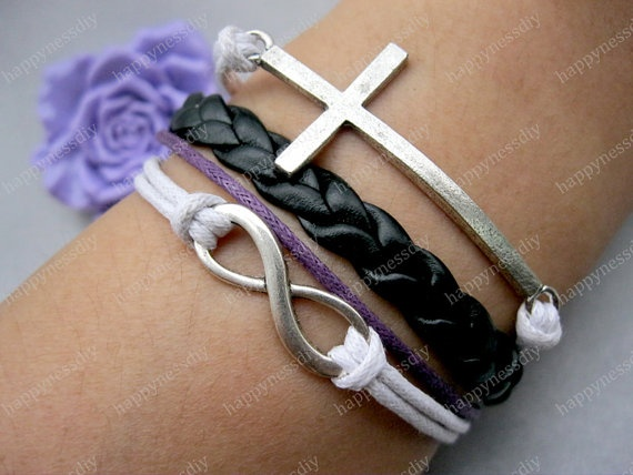 braceletkarma braceletantique silver cross by happynessDIY on Etsy. , via Etsy.
