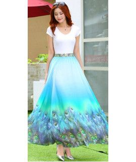 Precious Blue And Green Georgette Skirt.