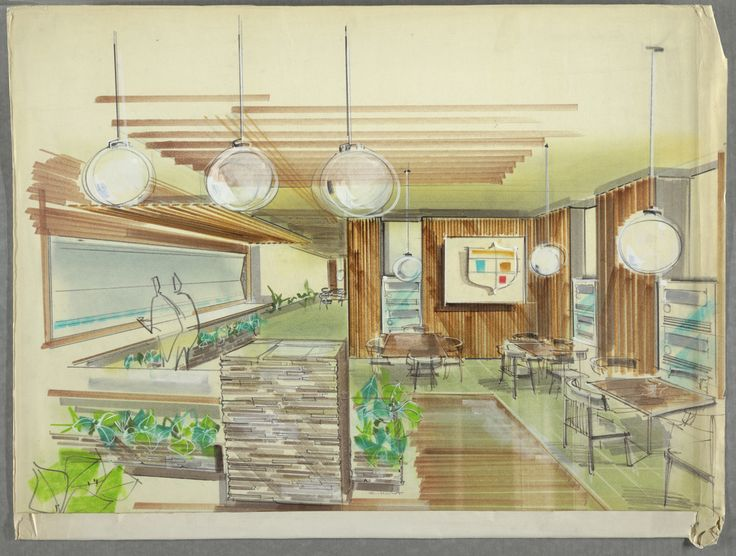 Drawing Cafeteria Interior With Seating Ca 1950s 60s