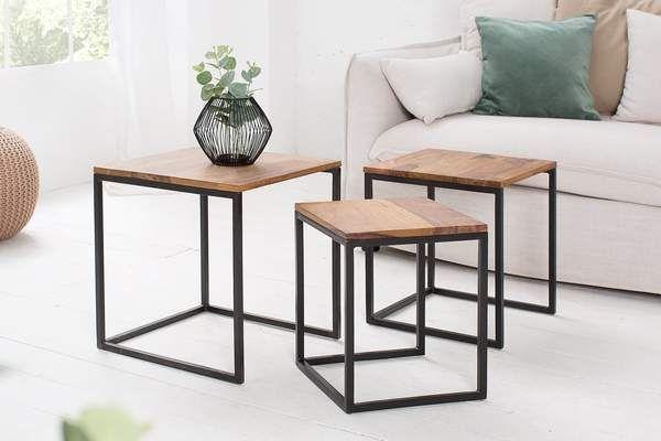 Fusion 3 Darabos Rozsafa Lerakoasztal Szett Coffee Table Table Metal Side Table