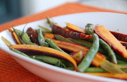 Roasted rainbow carrots and string beans with a citrus sage glaze....YES please!