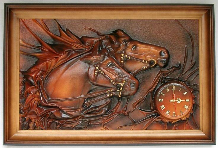 Obraz   zegar scienny ze sk�ry, KONIE, na prezent