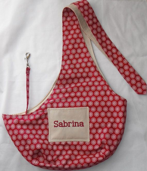 Pet Sling Embroidered With Your Dogs Name - For Dogs Up To 6 lbs #AmericanMade