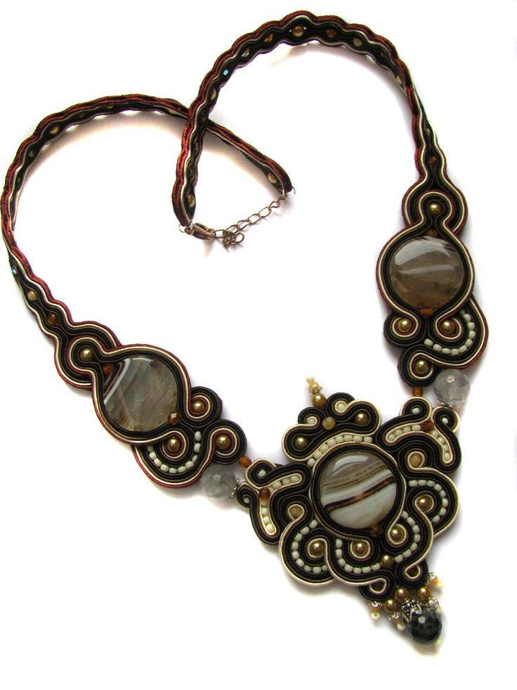 Necklace Agate soutache by GosiaBizu.deviantart.com on @deviantART