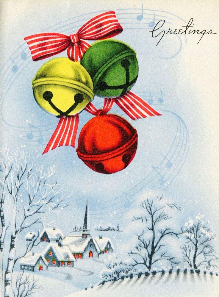 Vintage Christmas Card. Christmas Bells. Vintage Holiday. Christmas Greetings.