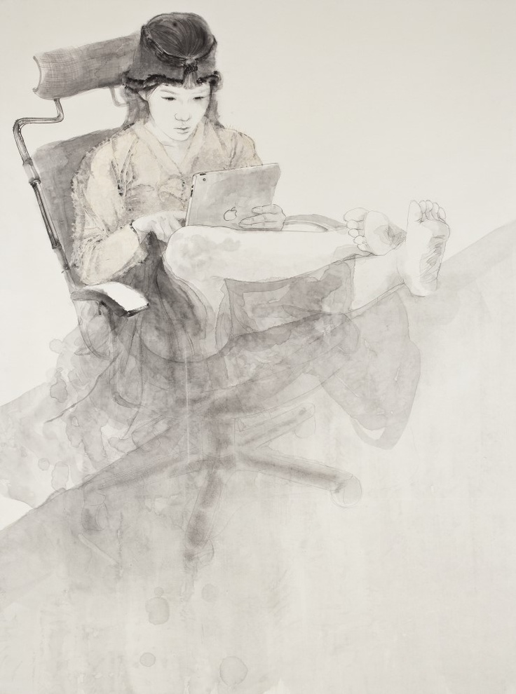 < 내숭   : 몰입   / Feign : Immersion >, Kim, Hyun-Jung   한지 위에 수묵, 콜라쥬 Painting with Korea traditional ink, color  and collage  on Traditional Asian paper 160x119cm, 2011