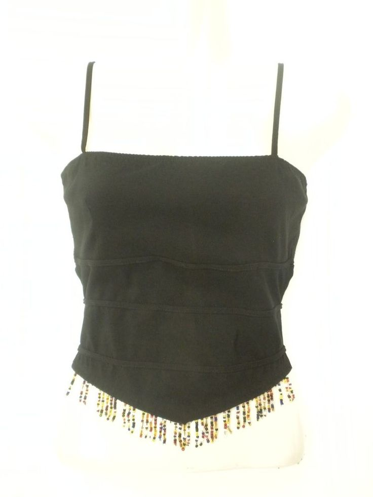 Vintage 90s Bellissimo Black Backless Tank Top Bustier Clubwear Size Medium #Bellissimo #TankCami #Clubwear