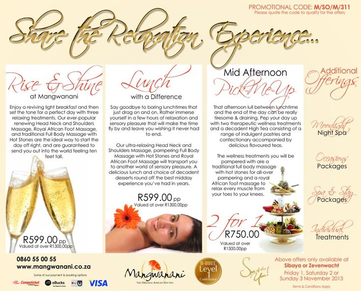1-2-3 November = 1-2-3 ways to relax in our coastal branches this weekend - book for these specials now!  #Mangwanani